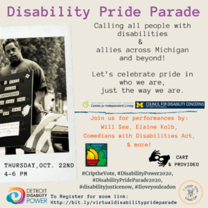 Disability Pride Parade (Virtual) @ ZOOM